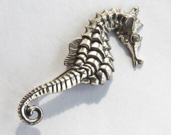 Beau Sterling Sea Horse Brooch