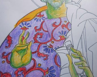 Coloring page original folk icon, Christ Pantocrator, DIGITAL, downloadable art