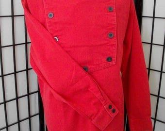 Wah Maker bib men's red long sleeve button western shirt Medium M USA