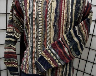 Vintage men's COOGI Style Cosby sweater striped by Florence Tricot Large L