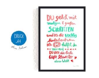 Print *Große Schwester* (Text in German)