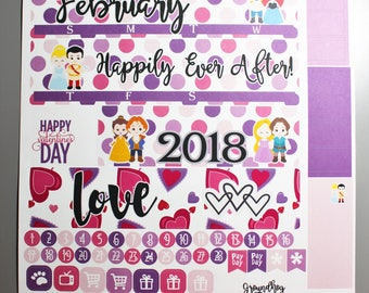 February Monthly View Full Kit Planner Stickers, for use with Erin Condren Life Planner, Happy Planner