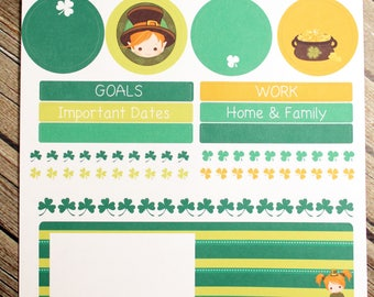March Notes Page Planner Stickers - for use with Erin Condren Notes Page - St Patricks Planner Stickers
