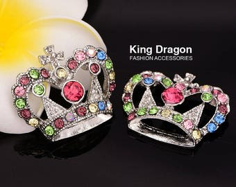 Rhinestone Crown Embellishment Flat Back 19MM Or 29MM 20pcs/lot Nickel Color Decoration Craft