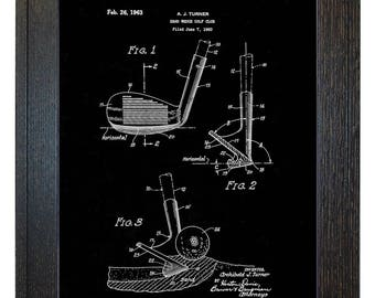 Framed Patent Art - Sand Wedge Golf Club WITH Real Rustic Wood Frame - Framed Patent Print