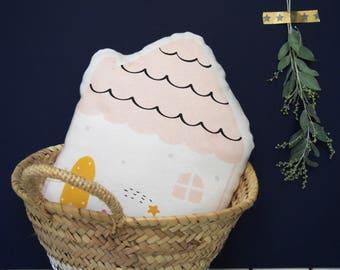 Coussin - Jolie maison - Matières naturelles et coton bio - Eco-responsable / Chambre enfant/bébés - Pastel/Décoration -