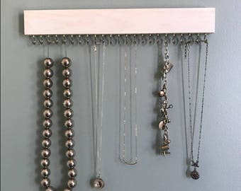 white wood hanging necklace display rack / organizer with gold (brass) or nickel (silver) hooks