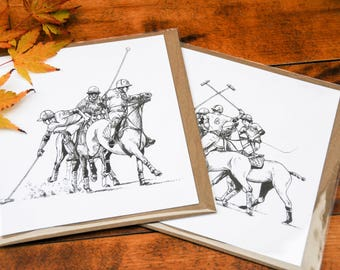 Greetings card of 'Skirmish' in a polo match with divots flying!