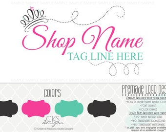 Premade Pink Teairra Crown Princess Logo Design Boutique Logo Watermark Logo Photography Logo Bowtique Logo Branding Logo