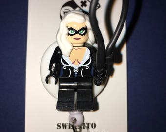 Black Cat Spiderman™ ~ ID Holder Customized with Brick® Minifigure ~ Badge Reel ~ Belt Clip ~ Alligator Clip~ Keychain Cufflinks Necklace