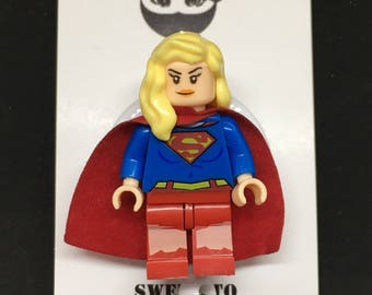 Supergirl™ Batman™ Superman™ ID Holder Customized with Brick® Minifigure ~ Retractable Badge Reel ~ Belt Clip ~ Alligator Clip~ Keychain RN