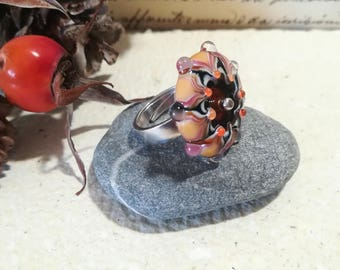 Ring, Murano glass and sterling silver