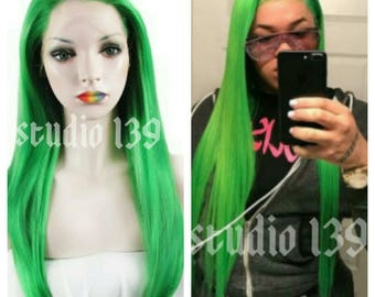 Green Human Hair lace front wig