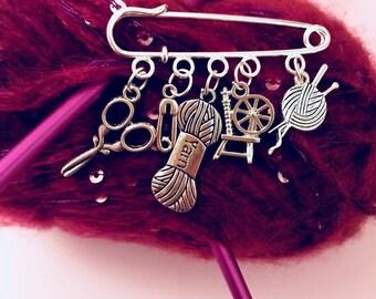 Knitting Crochet I love to. Knitting Crochet themed Brooch pin