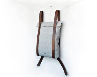 Edc backpack, grey canvas backpack, college backpack, mens rucksack, simple backpack, city rucksack, custom rucksack 201