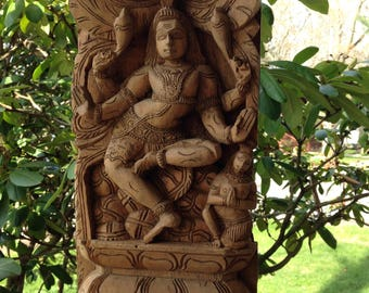 Hand Carved Statue of Hindu Goddess Kali and Shiva