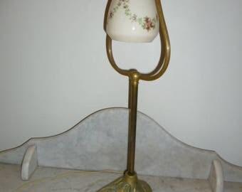 Art Nouveau style brass harp lamp glass shade circa 1940s