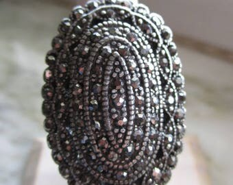 Vintage Silver Tone & Marcasite Ring