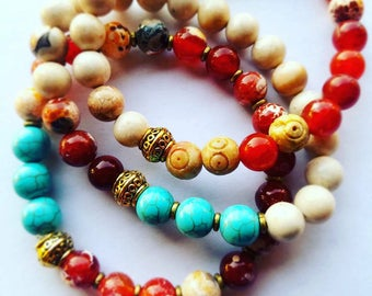 Stackable Beaded Braceletes Set: Turquoise, Agate with Vermeil Accents