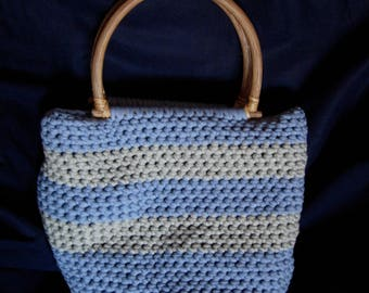 Large grey and light blue cotton tote bag
