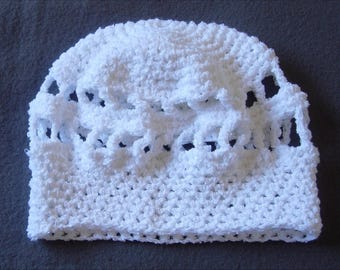 White crochet Beanie