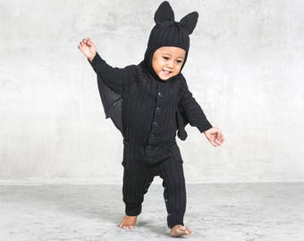 BAT SUIT Baby Halloween Costume for Toddler - Designer Bat Costume - Unique Handmade Knit Cotton Bat Kid's Cozy Romper - Blamo Toys