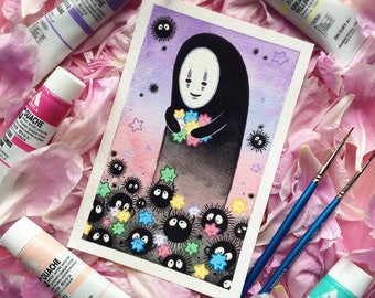 Spirited Away No Face Soot Sprite Watercolor Print by Michelle Coffee