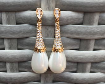 Bridal earrings, Pearl earrings, Wedding earrings, Bride earrings, Bridal earrings, Wedding earring, Drop Pearl Earrings,Gold pearls earring