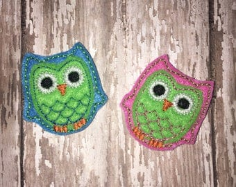 Set of 4 Owl Bird Pink Green Blue Lavender Felties Feltie Felt Embellishment Bow!