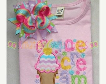 ON SALE Ice Cream Applique Shirt and Matching Hairbow - Sweet Treat