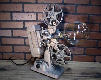 """Vintage Retro Upcycled Table Lamp - Movie Projector Lamp - 17"""" Tall - Edison Bulb - Revere 8 mm Projector - Lamp"""