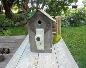Large Primitive Outdoor Birdhouse,Doorknob Birdhouse,Salvage Birdhouse,License Plate Birdhouse,Recycled Garden Decor,Rustic Yard Art, Upcyle