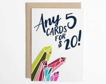 Any 5 Cards for 20 Dollars USD - Stationery, Mix and Match, Choose 5