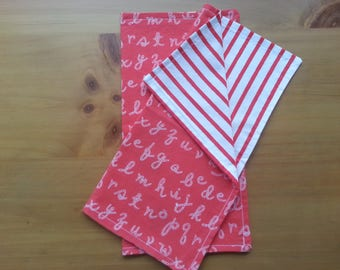"""Lunchbox/Snack Napkins in Cotton """"Out to Sea"""" fabric by Sarah Jane, Double Sided in Fun Nautical Rope Print that reverses to Red Stripes"""
