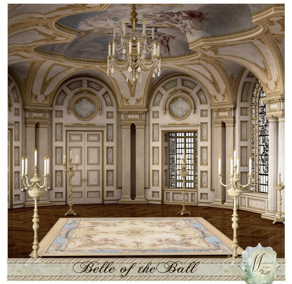 Belle Of The Ball Romantic Fantasy Fairy Tale Digital Background Backdrop Beauty And Beast Cinderella Ballroom Commercial Use