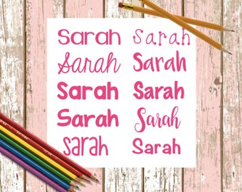 Name Decal Pack - 10 Name Decals - Back To School Decals - Name Stickers - Name Pack