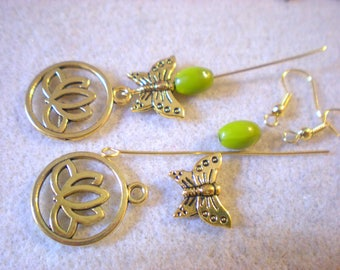 BO Zen Yoga KIT * Butterfly Celeste green Lotus * gold plated hooks