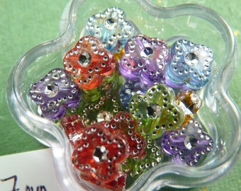 Set of 20 small flowers brilliant points 7 mm x 7 mm acrylic beads