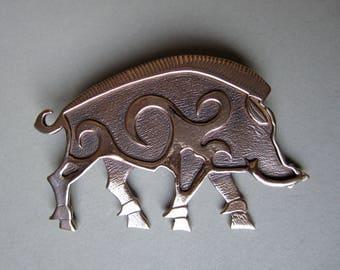 Large Boar Brooch or Pendant in Bronze
