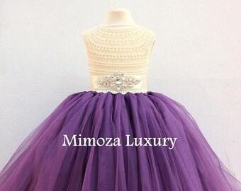 SALE Plum Dress, Plum Flower girl dress, Aubergine dress, plum birthday dress, plum theme party dress, handmade plum dress, plum tulle dress