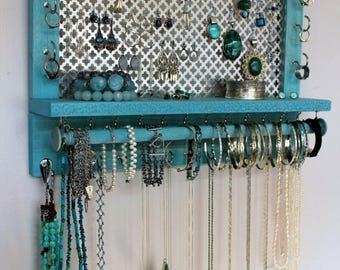 ON SALE NEW Laser Engraved, You Get To Pick The Stain, Mesh and Hook Color, Scroll Trim Series Wall Mounted Jewelry Organizer with Bracelet