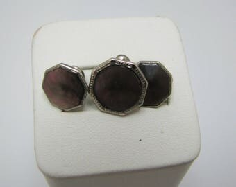 d005 Vintage Sterling Silver Shirt Studs with Dark Brown Stones