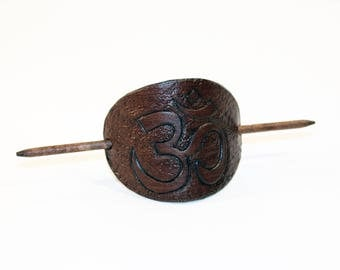 Leather Hair Barrette With Om Symbol, Hair Stick, Hair Slide, Hair Pin, Yoga Symbol! Great gift! Om Hair Barrette! Hair Accessories!