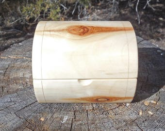 Cottonwood Log Box with Hinged Lid and Wax Finish, Small Chest Made from a Cottonwood Log, Stash Box