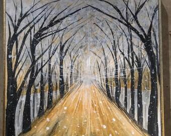 Golden Pathway through Winter