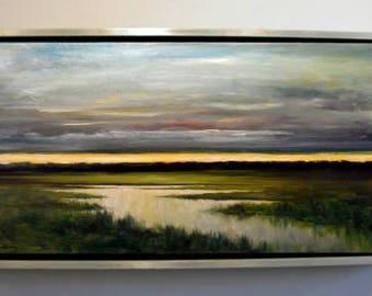Landscape Dusk over Wetlands Original Large Oil Painting Stuart Caress