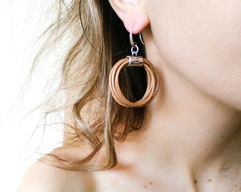 Leather earrings hoops, statement leather and metal jewelry, simple everyday leather circle earring, unique gifts for women, boho western