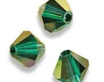 20 swarovski bicones 4mm emerald Swarovski Crystal satin