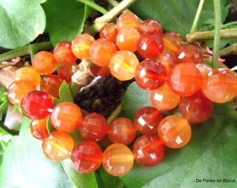 5 beads faceted round 10mm orange CARNELIAN premium