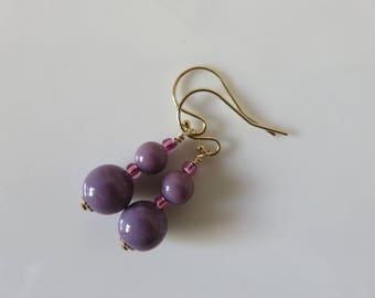 Venetian Murano glass earrings -- Opaline viola (soft purple) -- 14K gold filled Venetian glass  earrings
